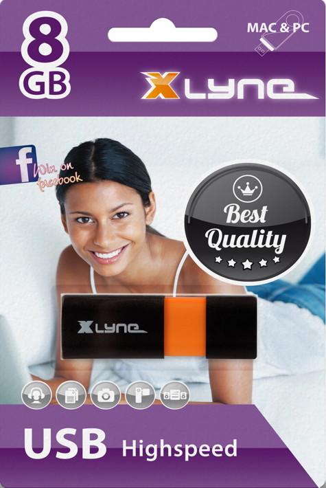 Xlyne USB Stick 8GB Speicherstick Wave schwarz